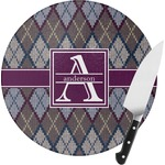 Knit Argyle Round Glass Cutting Board (Personalized)