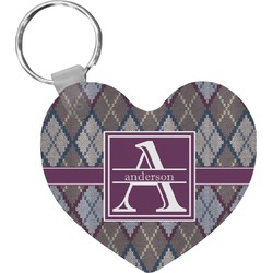 Knit Argyle Heart Keychain (Personalized)