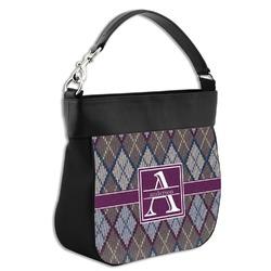 Knit Argyle Hobo Purse w/ Genuine Leather Trim (Personalized)