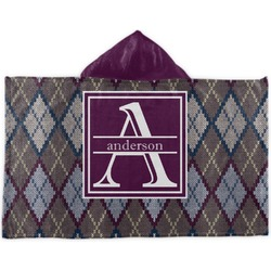 Knit Argyle Kids Hooded Towel (Personalized)