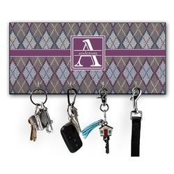 Knit Argyle Key Hanger w/ 4 Hooks (Personalized)