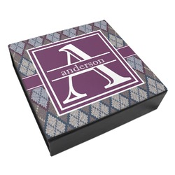 Knit Argyle Leatherette Keepsake Box - 3 Sizes (Personalized)