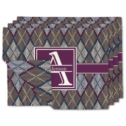 Knit Argyle Linen Placemat w/ Name and Initial