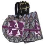 Knit Argyle Plastic Luggage Tags (Personalized)