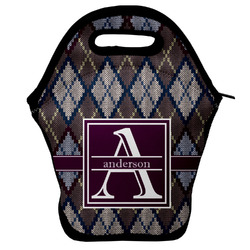 Knit Argyle Lunch Bag w/ Name and Initial
