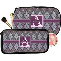 Knit Argyle Makeup / Cosmetic Bag (Personalized)