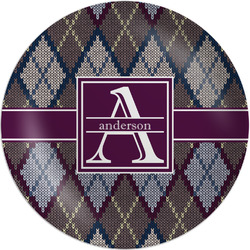"Knit Argyle Melamine Plate - 8"" (Personalized)"