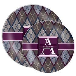 Knit Argyle Melamine Plate (Personalized)