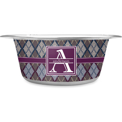 Knit Argyle Stainless Steel Dog Bowl (Personalized)
