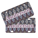 Knit Argyle Mini/Bicycle License Plates (Personalized)
