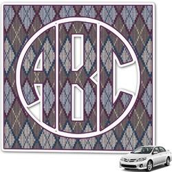 Knit Argyle Monogram Car Decal (Personalized)
