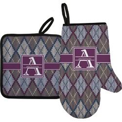 Knit Argyle Oven Mitt & Pot Holder (Personalized)