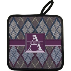 Knit Argyle Pot Holder (Personalized)