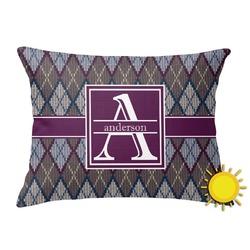 Knit Argyle Outdoor Throw Pillow (Rectangular) (Personalized)