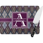 Knit Argyle Rectangular Glass Cutting Board (Personalized)