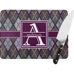 Knit Argyle Rectangular Glass Cutting Board (Personalized)
