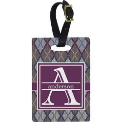 Knit Argyle Rectangular Luggage Tag (Personalized)