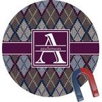 Knit Argyle Round Fridge Magnet (Personalized)