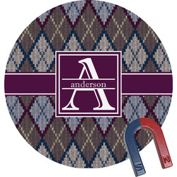Knit Argyle Round Magnet (Personalized)