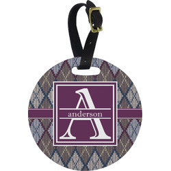 Knit Argyle Round Luggage Tag (Personalized)