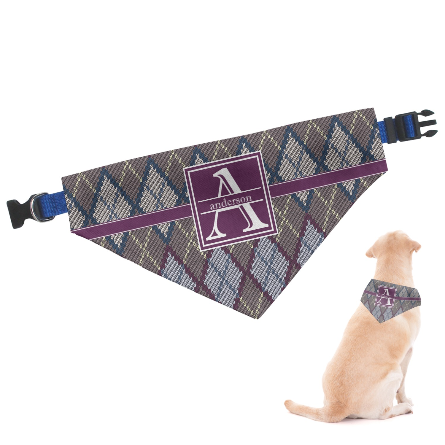 Knitting Patterns For Dog Bandanas : Knit Argyle Dog Bandana - Large (Personalized) - YouCustomizeIt