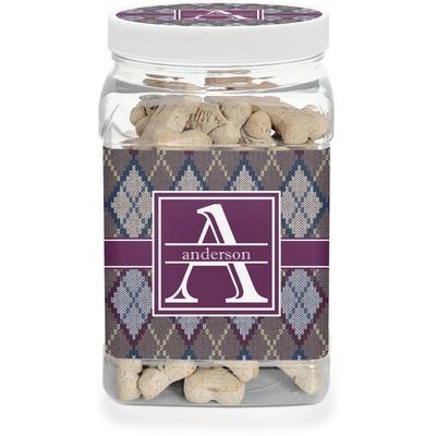 Knit Argyle Dog Treat Jar (Personalized)