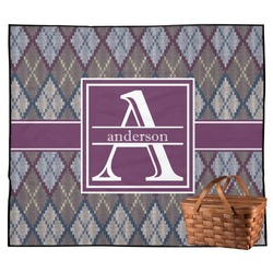 Knit Argyle Outdoor Picnic Blanket (Personalized)