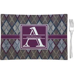 Knit Argyle Glass Rectangular Appetizer / Dessert Plate - Single or Set (Personalized)