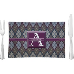 Knit Argyle Glass Rectangular Lunch / Dinner Plate - Single or Set (Personalized)