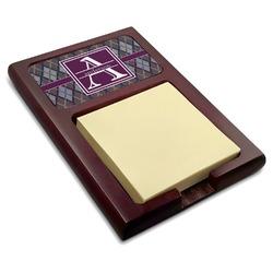 Knit Argyle Red Mahogany Sticky Note Holder (Personalized)