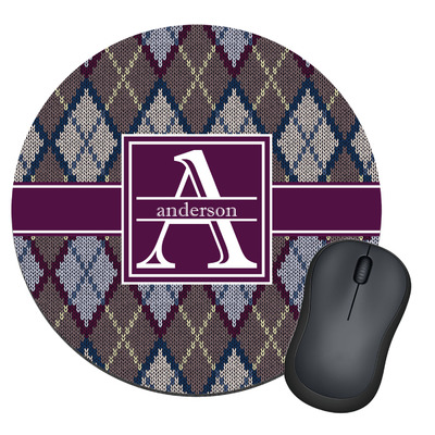 Knit Argyle Round Mouse Pad (Personalized)