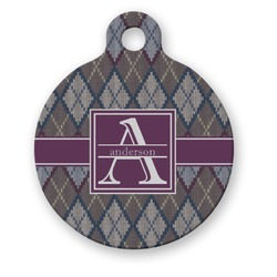 Knit Argyle Round Pet Tag (Personalized)