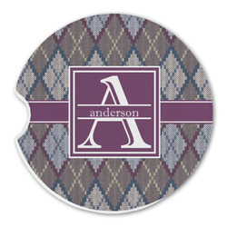 Knit Argyle Sandstone Car Coasters (Personalized)