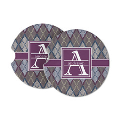 Knit Argyle Sandstone Car Coasters (Personalized)