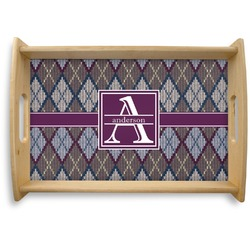 Knit Argyle Natural Wooden Tray (Personalized)