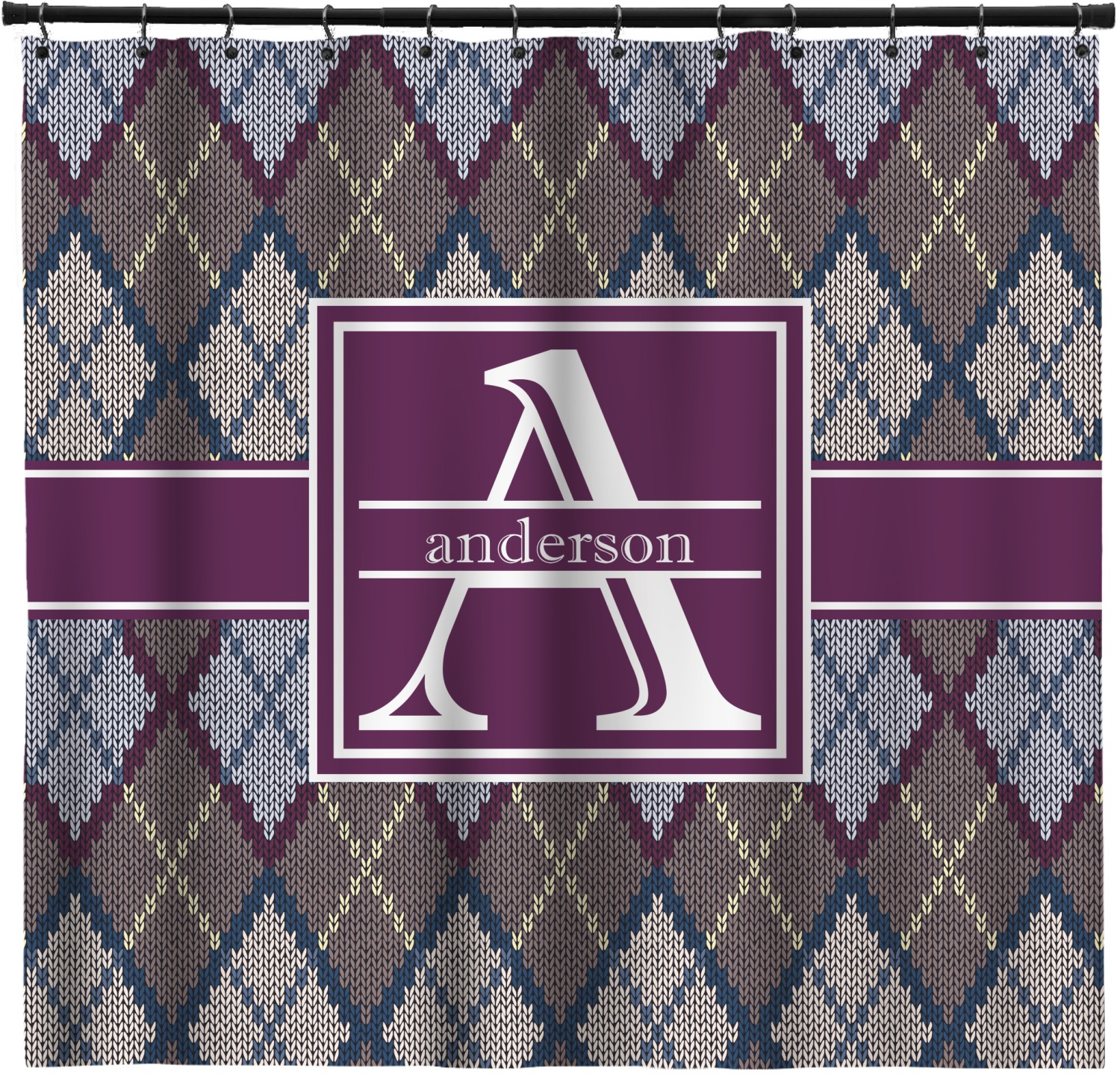 Knit Argyle Shower Curtain Custom Width Height Personalized Youcustomizeit