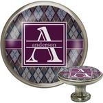 Knit Argyle Cabinet Knob (Silver) (Personalized)