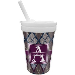Knit Argyle Sippy Cup with Straw (Personalized)