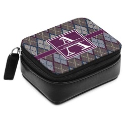 Knit Argyle Small Leatherette Travel Pill Case (Personalized)