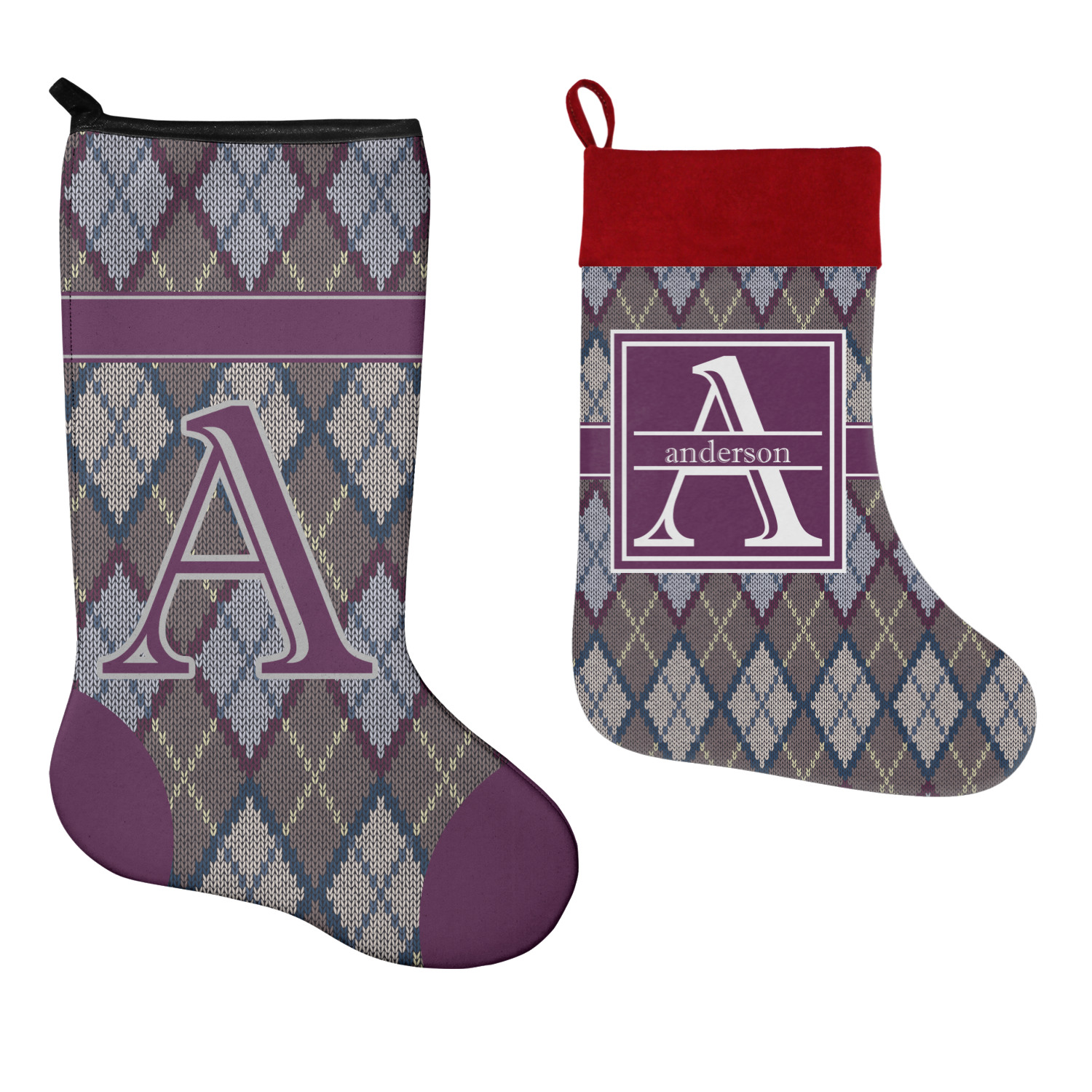 Knit Argyle Christmas Stocking (Personalized) - YouCustomizeIt