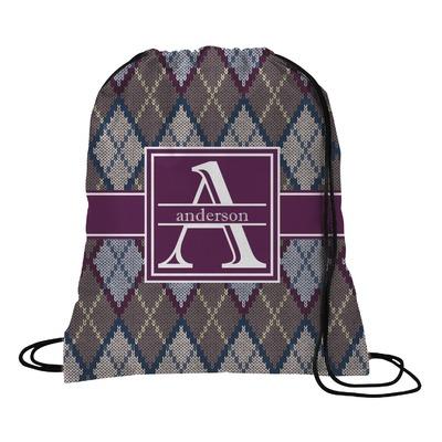 Knit Argyle Drawstring Backpack (Personalized)