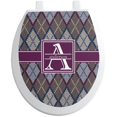 Knit Argyle Toilet Seat Decal (Personalized)