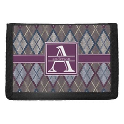 Knit Argyle Trifold Wallet (Personalized)