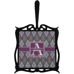 Knit Argyle Trivet with Handle (Personalized)
