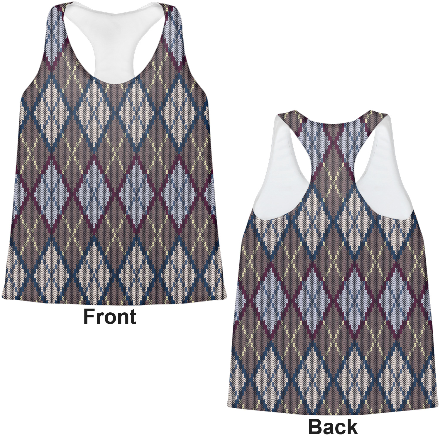 knit argyle womens racerback tank top medium personalized youcustomizeit. Black Bedroom Furniture Sets. Home Design Ideas
