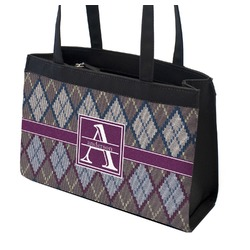 Knit Argyle Zippered Everyday Tote (Personalized)