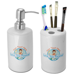 Love You Forever Ceramic Bathroom Accessories Set (Personalized)