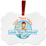 Love You Forever Metal Frame Ornament - Double Sided w/ Name or Text