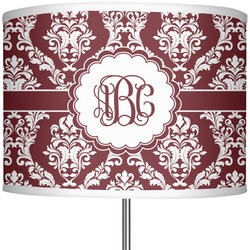 "Maroon & White 13"" Drum Lamp Shade (Personalized)"