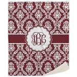 Maroon & White Sherpa Throw Blanket (Personalized)